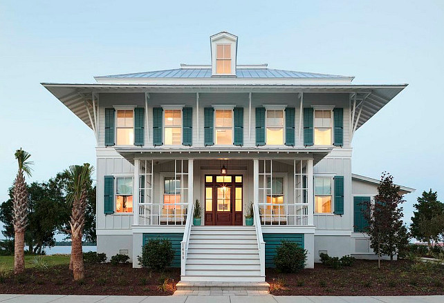 "Coastal Living Showhouse.  Coastal Living Showhouse   The exterior paint color is ""Sherwin-Williams SW2116 Falling Star"". Trim Paint Color is ""Sherwin-Williams SW7006 Extra White"".  Shutter Paint Color: ""Sherwin-Williams WW7614 St. Bart's"". #CoastalLivingShowhouse"