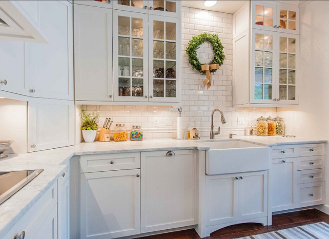 Backsplash. Backsplash Ideas. Kitchen Backsplash. The backsplash in this kitchen is USC Bright Snow White beveled and USC Bright Snow White Victorian chair rail from Crossville Tile on Orange Blossom Trail Orlando FL. #Backsplash #KitchenBacksplash
