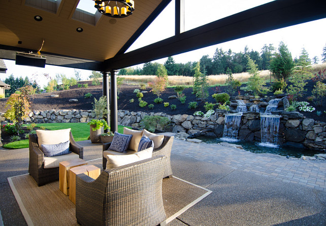 Backyard. Backyard Ideas. Backyard with patio and waterfall. Backyard.