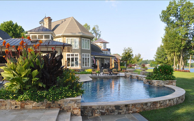 Backyard. Dream backyard with pool and waterview. Bruce Clodfelter and Associates.