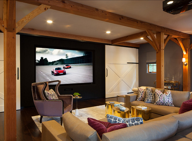 Basement Design Idea. Cool Basement with media room and barn doors. #Basement #MediaRoom Dubinett Architects, llc.