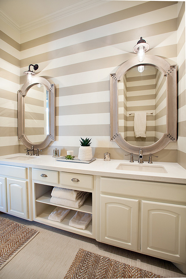 Bathroom Design Ideas. Great bathroom design with painted horizontal stripes and double vanity. #Bathroom #BathroomDesign #BathroomIdeas Tracy Hardenburg Designs.