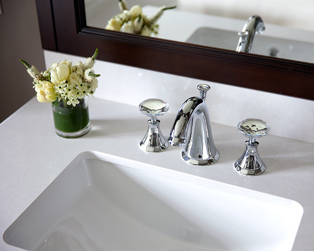 Bathroom Faucet Ideas. Bathroom Quartz Countertop and Faucet Ideas. #Bathroom #BathroomIdeas #QuartzCountertop #Faucet Designed by Jane Lockhart.