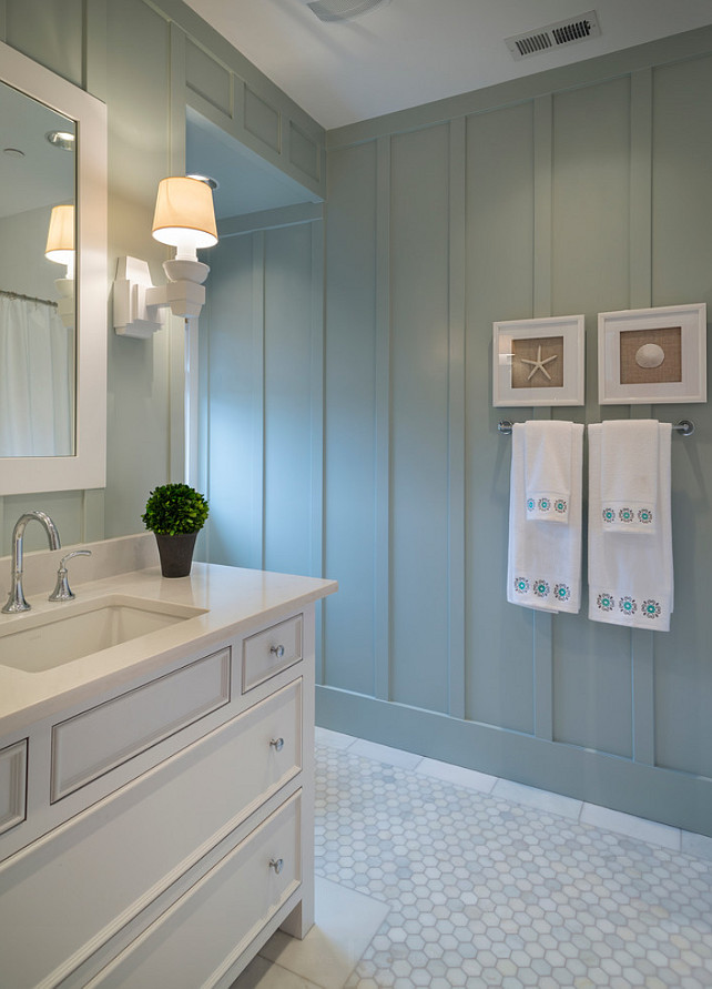 Bathroom Ideas. Bathroom Design Ideas. Bathroom with batten Board wainscoting. #Bathroom #BattenBoard #BattenBoardWainscoting