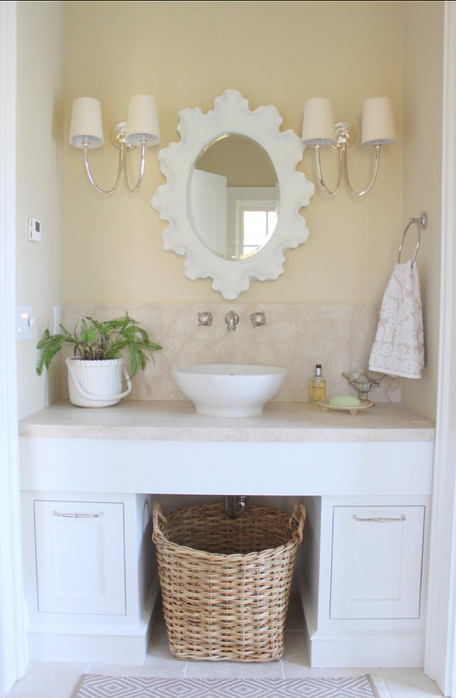 Bathroom Mirror. The mirror in this bathroom is from Ballard Designs. Molly Frey Design.