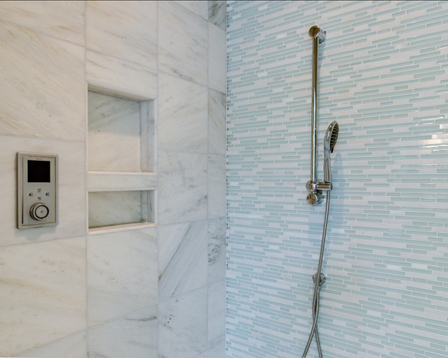 Bathroom Shower Tiles. Timeless shower tiles ideas. Interesting and fresh mix of marble with glass tiles. #ShowerTiles #Tiles #Shower
