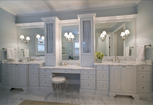 Bathroom with His and Hers Vanity. #Bathroom Studio M Interior Design, Inc.