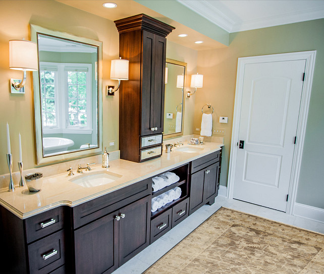 Bathroom. Bathroom Design. Master Bathroom Design Ideas. Beautiful Master Bathroom with custom double vanity and custom mirrors. Mirrors were made through Roma Moulding. #Bathroom #BathroomDesign #BathroomIdeas #MasterBathroomDesign