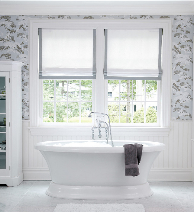 Bathroom. Bathroom Ideas. Classic white bathroom with Roman shades. This is Natural Roman Shade with an edge binding. #Bathroom #BathroomIdeas #RomanShades