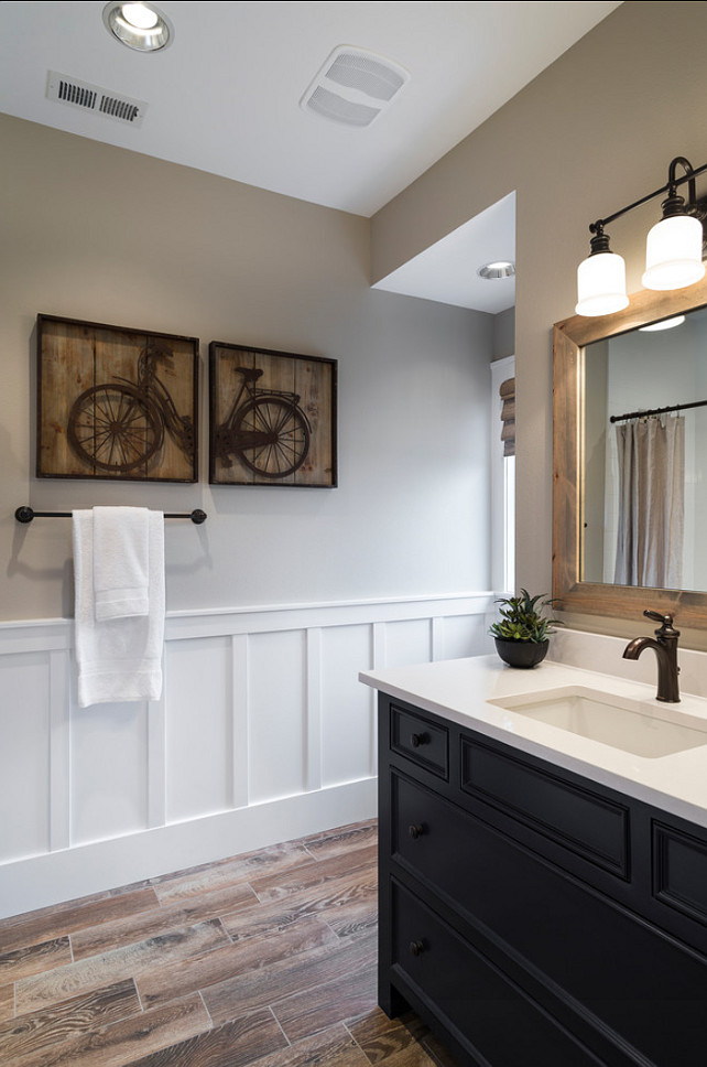 Bathroom. Boys Bathroom Design Ideas. Great kids' bathroom with painted furniture vanity, wood-like tiles, wainscot, bat & board and quartz slab countertops. #Bathroom #BoysBathroom