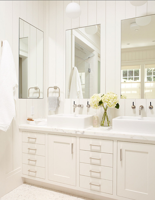 Bathroom. Master Bathroom. Master bathroom, white vanity with two sinks and large mirrors. Rasmussen Construction.