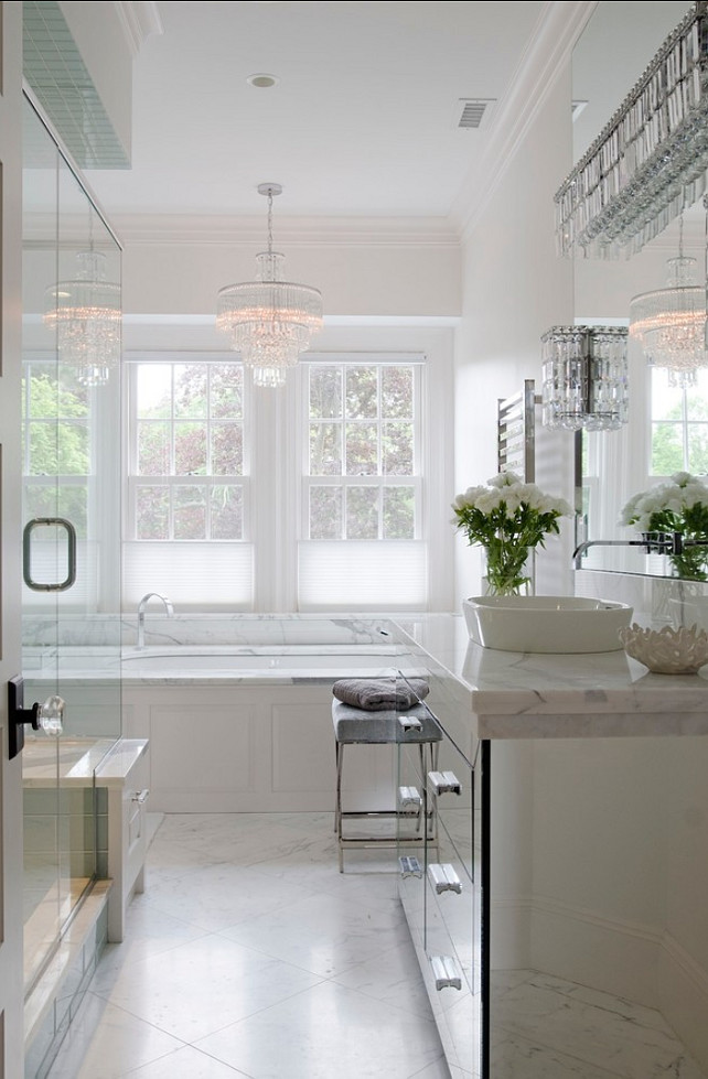 Bathroom. White Bathroom Ideas. Bathroom with white marble. #Bathrom #WhiteBathroom OLSON LEWIS + Architects.