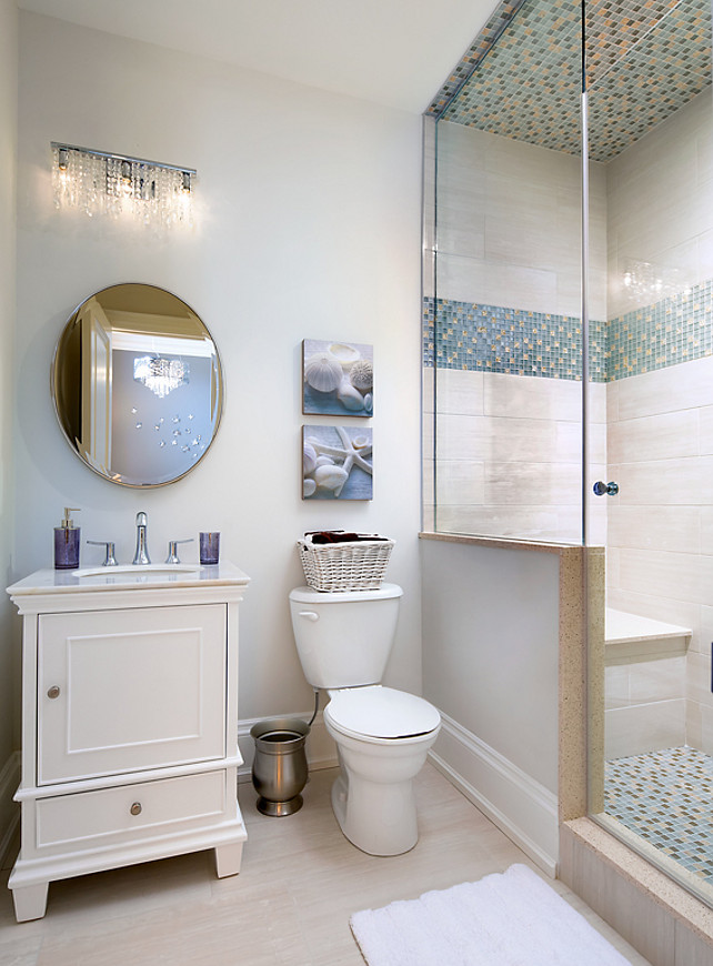 Batroom Neutral Coastal Bathroom Design. Bathroom with coastal decor. #Bathroom #CoastalInteriors #CoastalBathroom #SmallBathroom Designed by Jane Lockhart.