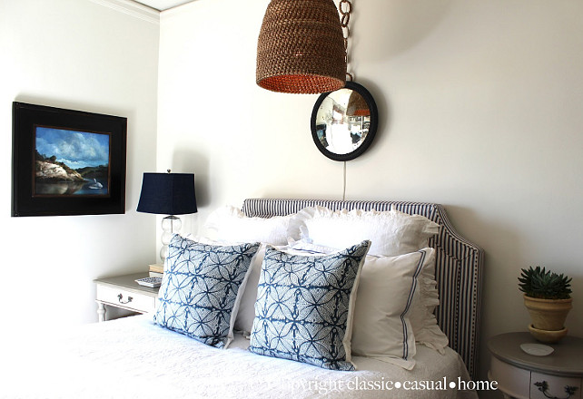 Bedroom Decor Ideas. Blue and white Bedroom Decor Ideas. #Bedroom #BedroomDecor #Blue&WhiteDecor Designed by Chez Vous Home Interiors.