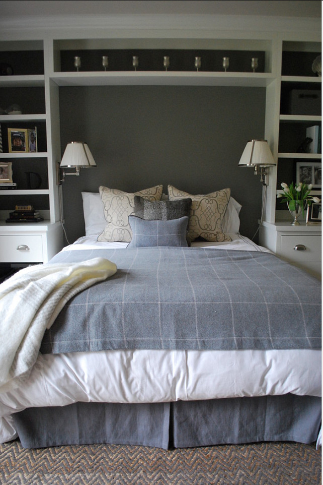 Bedroom Ideas. Bedroom with built-in bookshelves. Lisa Gabrielson Design.