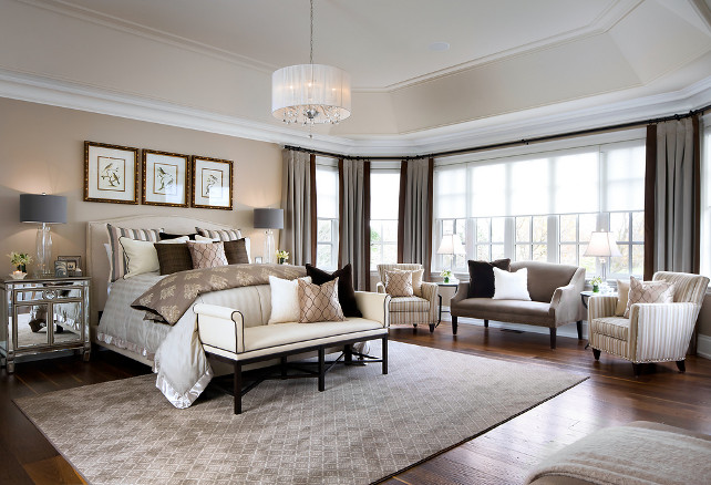 Bedroom Ideas. Tailored Bedroom Design with elegant furniture and decor. #Bedroom #TailoredBedroom #TailoredDesign #BedroomIdeas #BedroomFurniture #BedroomColorPalette Designed by Jane Lockhart.