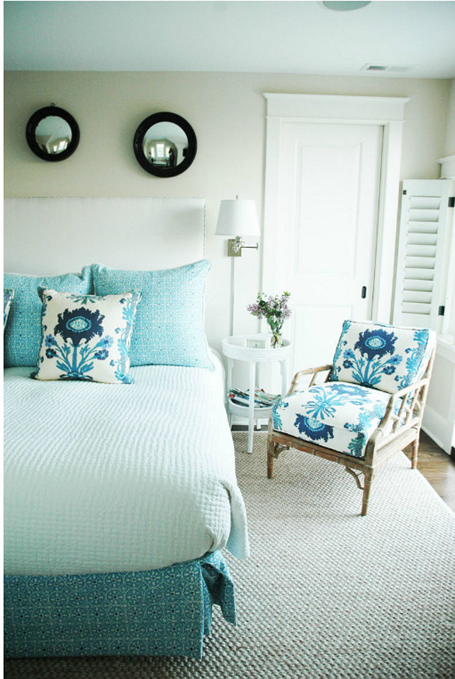 "Bedroom. Coastal Bedroom. Bedroom with coastal turquoise decor. Bedding & Chair Fabrics: ""China Seas Nitik II"" and ""Quadrille Henriot Floral"". Morrison Fairfax Interiors"