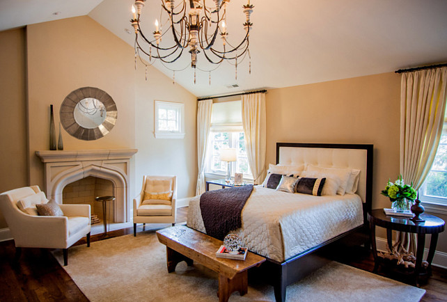 Bedroom. Master Bedroom Design. Master bedroom with neutral, traditional decor. Chandelier is a Suzanne Kasler design through Visual Comfort. #MasterBedroom #MasterBedroomIdeas #MasterBedroomDesign