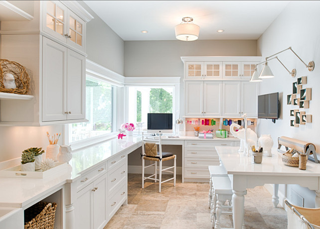 Benjamin Moore, Apparition 860. Craft Room Design. Great Craft Room with plenty of storage and workspace. Designed by Studio M Interiors. #CraftRoom #Office #CraftRoomDesign #CraftRoomIdeas