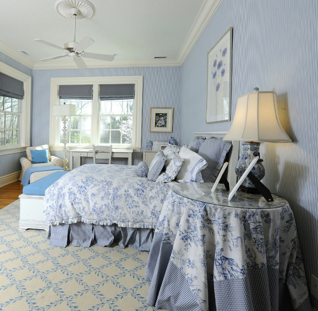 Classic Blue/ White Toile Fabric. Blue and White Decor Ideas. Traditional Blue and White Bedroom. #BlueandWhiteDecor #Blue&WhiteDecor #Bedroom #TraditionalInteriors Via Sotheby's Homes.