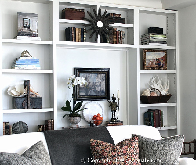 Bookcase Decor Ideas. Stylish Bookcase decorating ideas. #DecorIdeas #HomeDecorIdeas #Bookcases #BookshelvesDecor Designed by Chez Vous Home Interiors.