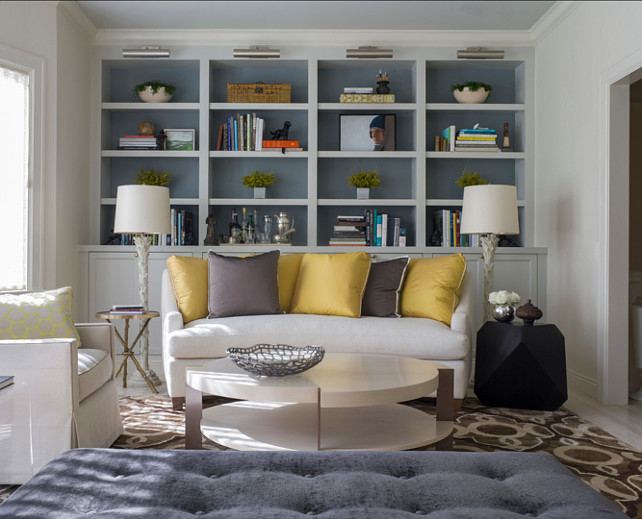 "Bookshelf Paint Color. Paint inside of bookself ideas. The paint color used inside of the bookshelves is ""Benjamin Moore Gibraltar Cliffs 1587"". . #BenjaminMoore #GibraltarCliffs #1587. Bookshelves Paint Color. Angela Free Design."