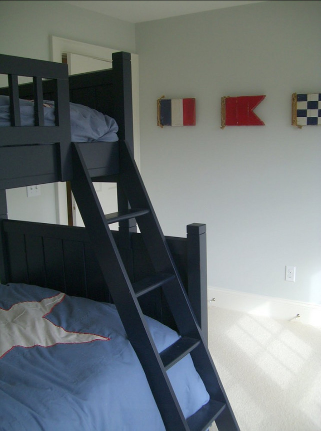 "Bunk Bedroom. Coastal Bunk Bedroom. Nautical flag artwork are from ""Cottage Home Furniture"". #Bunkbedroom #CoastalBedroom"