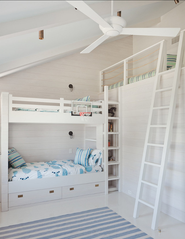 "Bunk Room. Bunk Room Ideas. Bunk room with bunkbed and loft. Paint Color is ""Benjamin Moore 962 Gray Mist"". #BunkRoom #BunkBed #CustomBunkBed #CustomBunkRoom"