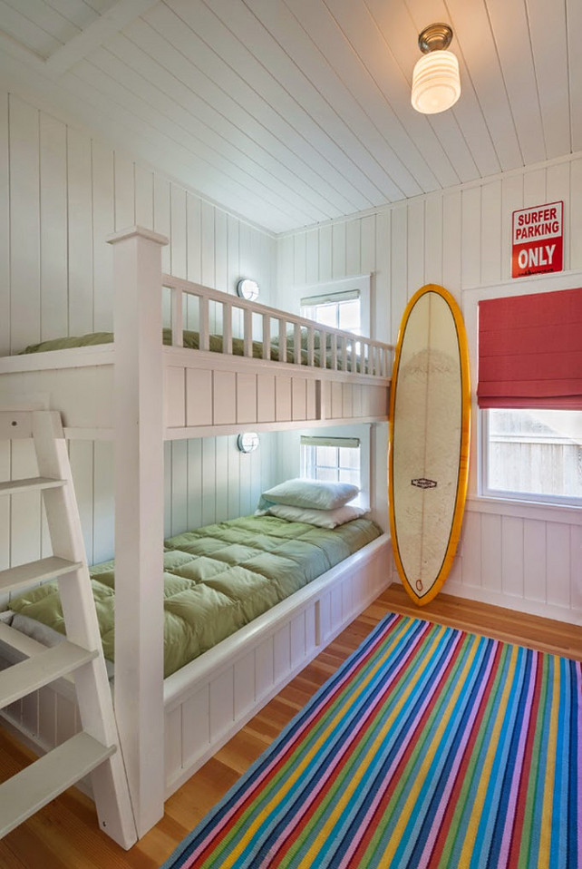 Bunk Room. Coastal Bunk Room Design Ideas. This bunk room design is perfect for small homes or cottages. #BunkRoom ##SmallSpaces #CottageInteriors