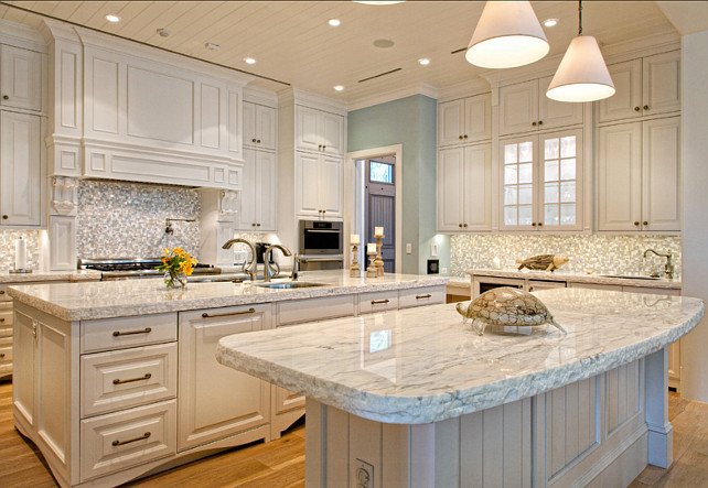 Coastal Kitchen. Kitchen with coastal decor. White kitchen with coastal decor.