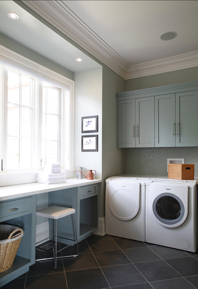 "Cabinet Paint Color: ""Benjamin Moore piedmont gray CC-690"". #BenjaminMoorePaintColor.  Wall Paint Color:  ""Old White by Farrow & Ball"".  Cranberry Hill Kitchens"