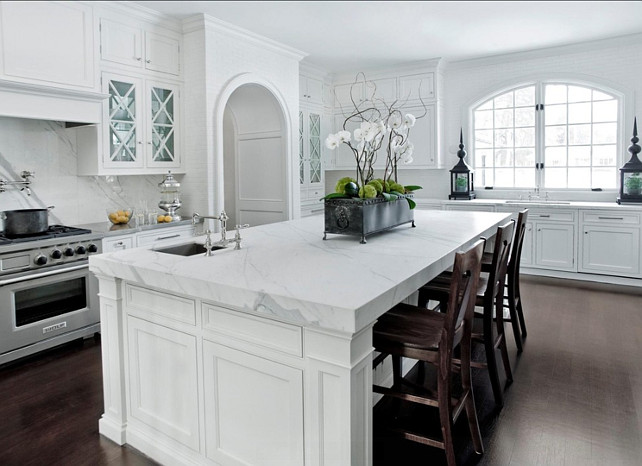 Kitchen Island Ideas. Kitchen island is a 2cm carrera white marble island. The edge is a mitered edge. #Kitchen #KitchenIsland
