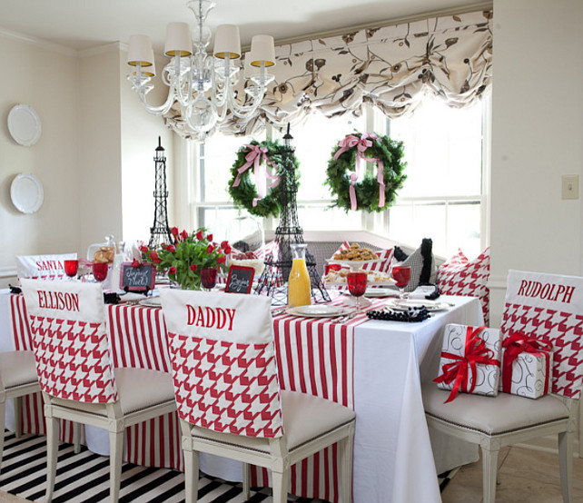 Casual Christmas Dining Room Decor #ChristmasDecor Tobi Fairley Interior Design.