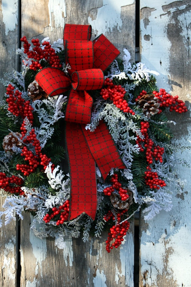 Christmas Wreath, Plaid Ribbon, Snow Cedar, Red Berries, Pine. From Etsy. #Wreath #ChristmasWreath Sweet Something Designs.