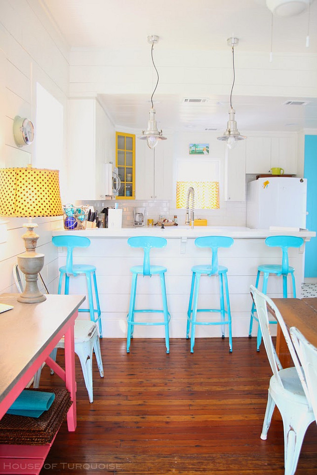 Coastal Kitchen. Coastal Kitchen with turquoise and yellow decor. #Coastal #CoastalKitchen #Turquoise Via House of Turquoise. Designed by Jane Coslick.