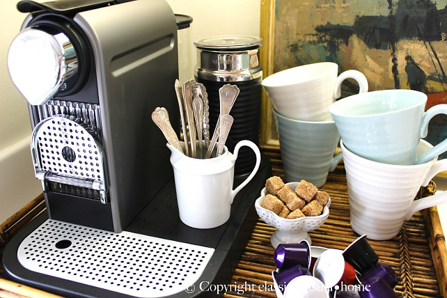 Coffee Station. Kitchen Coffee Statio Ideas. #CoffeeStation #Coffee Designed by Chez Vous Home Interiors.