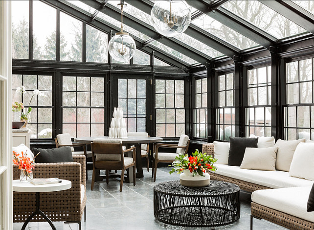 Conservatory Design. Dramatic and chic conservatory. Lighting are the Globus Pendants from Urban Electric. #Conservatory #ConservatoryIdeas #ConservatoryDesign Terrat Elms Interior Design.
