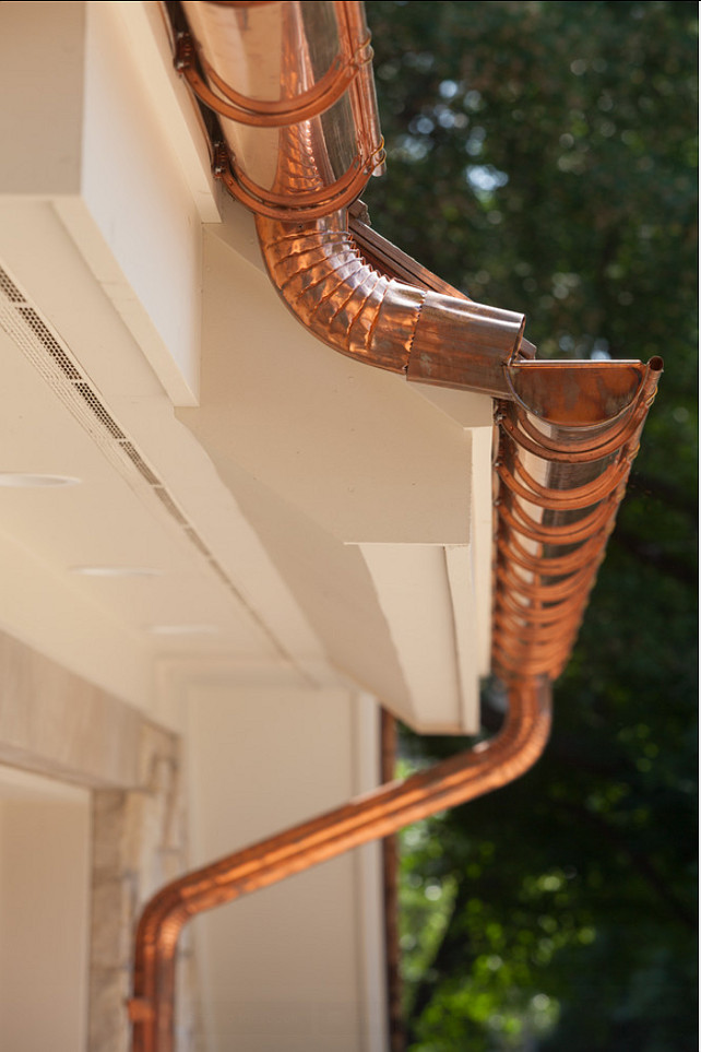 Copper gutters and dowspouts. Custom designed copper gutters and dowspouts. #Copper #gutters #dowspouts