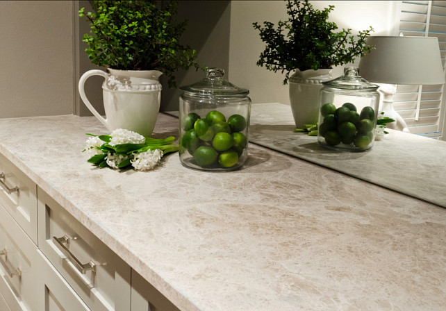 Countertop Ideas. The countertop is Marble Emperador Light aka Perlado in a brushed finish. #Countertop #CountertopIdeas