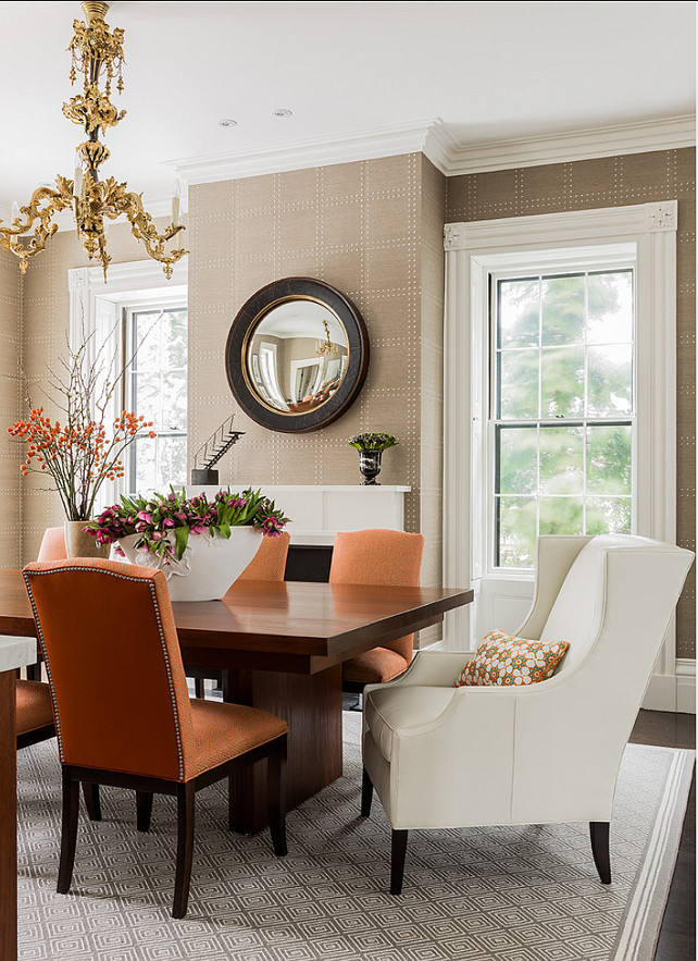 Dining Room. Elegant Dining Room Ideas. Dining Room Furniture Ideas. Dining Room Decor. The mirror in this dining room is from Dessin Fournir. The custom bound rug is from Faber's Rug in Wellesley, MA. The wallcovering is from Phillip Jeffries. It is called Rivets. #DiningRoom #DiningRoomDecor Terrat Elms Interior Design.