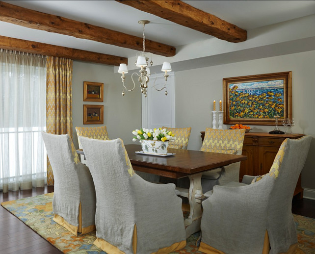 Dining Room. Dining Ideas. Gray Dining Room with hints of yellow decor. #DiningRoom #GrayDiningRoom Designed by Cottage Company Interiors.