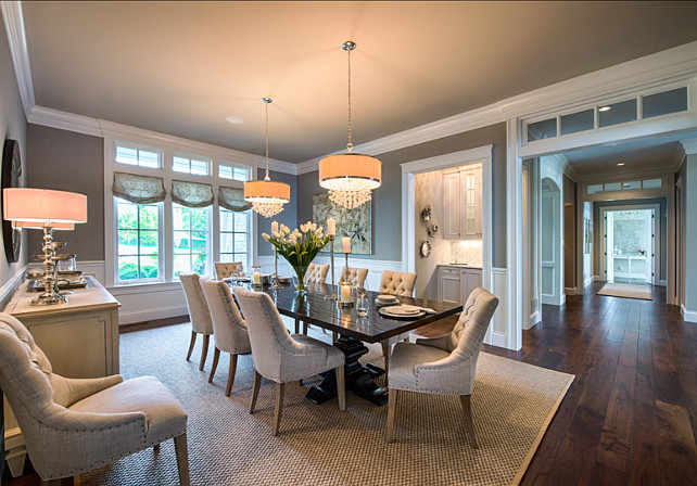 Dining Room. Dining Room Design Ideas. Dining room with gray wall paint color and elegant furniture and decor. #diningroom #DiningRoomDesign #DiningRoomIdeas #DiningRoomIdeas