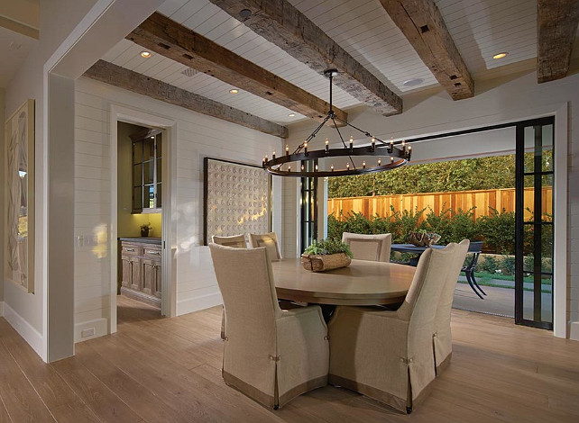 Dining Room. Dining Room Ideas. Transitional Dining Room. The chandelier in this dining room is from Restoration Hardware, Camino Round Chandelier Forged Iron. #DiningRoom #DiningroomIdeas #DiningroomDesign #DiningRoomLayout