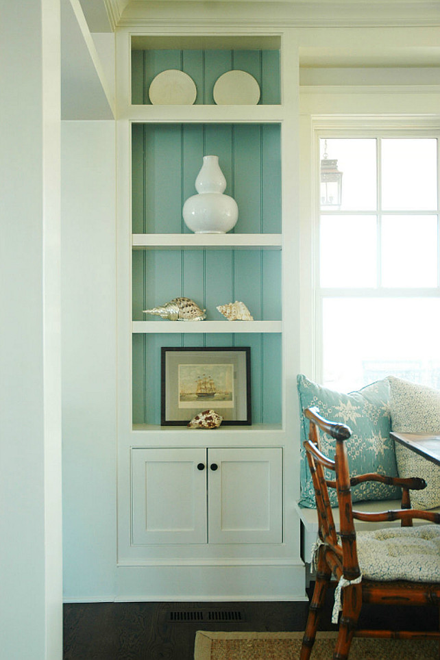 Dining Room. Dining Room. Turquoise blue cottage dining room. Cottage dining room built-in cabinets with turquoise blue beadboard backsplash and beachy accents. Built-in dining room banquette. Morrison Fairfax Interiors