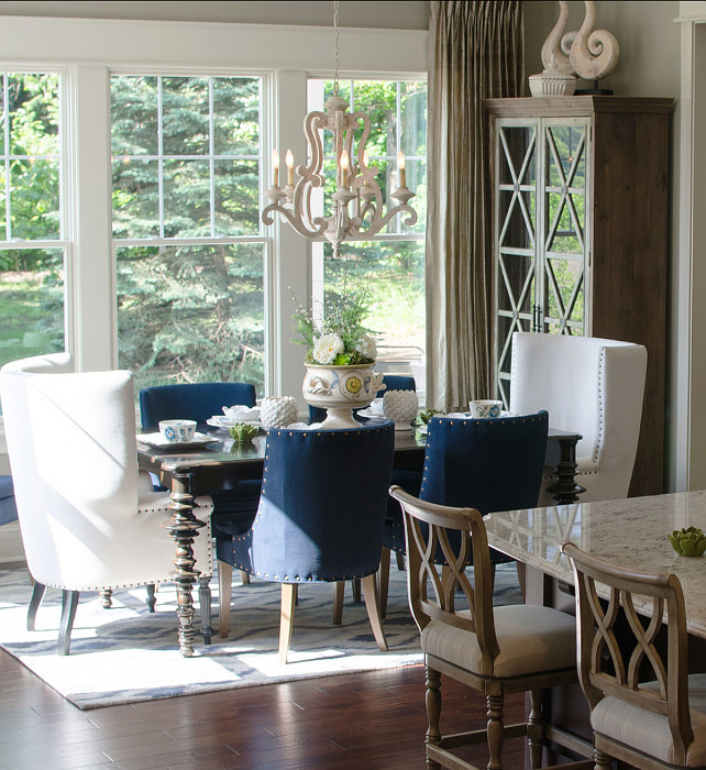 "Dining Room. I like the idea of using a beautiful chandelier and layer the dining room with a rug and upholstered chairs. Chandelier is the ""Hayman Bay 5 Light Chandelier"". #DiningRoom"