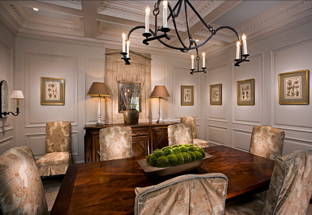 Dining Room. Traditional Dining Room Ideas. Traditional Dining Room with coffered ceiling and floor to ceiling wainscotting. #DiningRoom #DiningRoomDesign #DiningRooLayout #FurnitureLayout