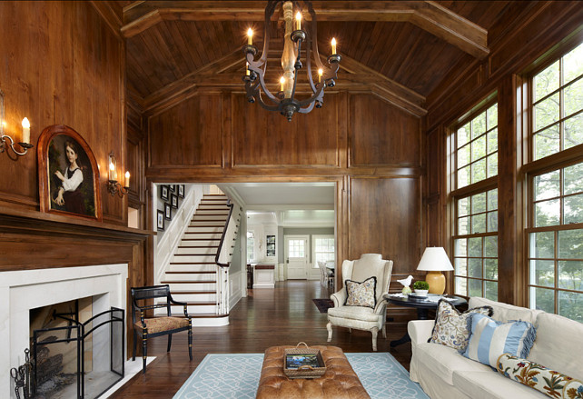 Family Room. Wood Paneling Living Room. Traditional Living Room. The wood paneling on walls are made of alder and the stain was a custom mix. #LivingRoom #TraditionalLivingRoom #TraditionalInteriros #WoodPanelingIdeas Designed by Yunker Associates Architecture.