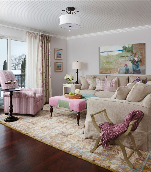 Feminine Decor Ideas. Living Room with feminine decor. Feminine Interiors. Feminine Color Palette. #FeminineInteriors #FeminineDecor #ColorPalette Designed by Cottage Company Interiors.