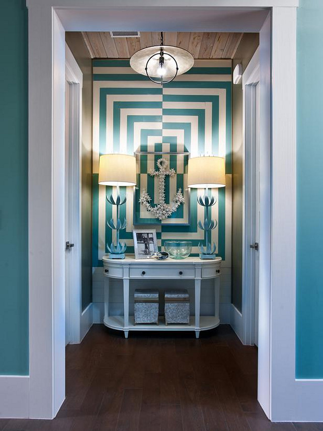 Foyer. Coastal Foyer Ideas. Gorgeous turquoise coastal foyer. #Foyer #FoyerDesign #CoastalInteriors #TurquoiseInteriors