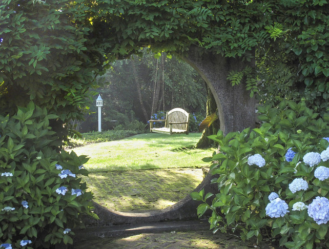 Garden Design Ideas. Classic garden with Blue Hydrangeas. #BlueHydrangea #Garden #Gardening
